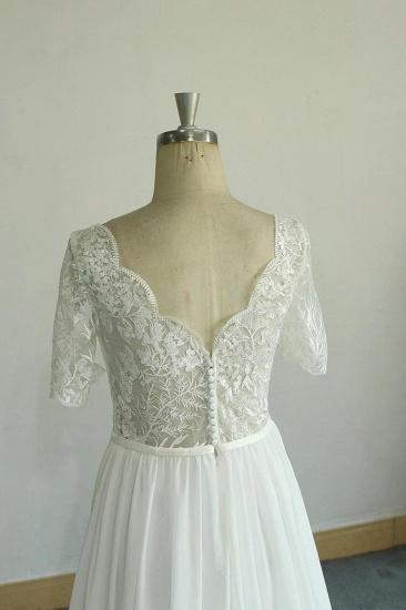 BMbridal Affordable Halfsleeves V-neck Chiffon Wedding Dresses White A-line Ruffles Bridal Gowns Online_4