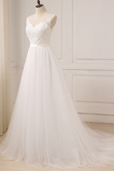 BMbridal Glamorous Tulle Sleeveless Jewel Wedding Dress White A-line Appliques Bridal Gowns On Sale_4