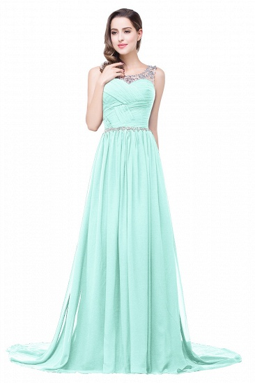BMbridal A-line Court Train Chiffon Party Dress With Beading_7