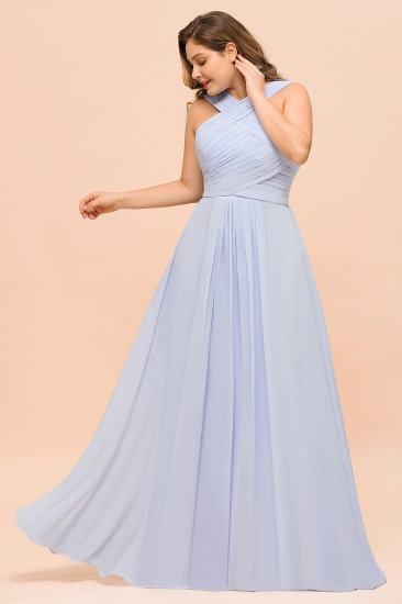 Plus Size Affordable Lavender Chiffon Bridesmaid Dresses with Ruffle_6