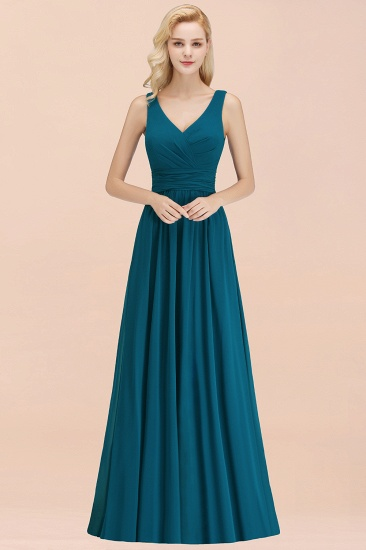 Sleeveless V-Neck Long Bridesmaid Dress