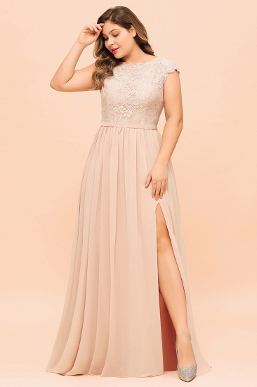 Elegant Jewel Chiffon Lace Affordable Bridesmaid Dresses with Slit_8