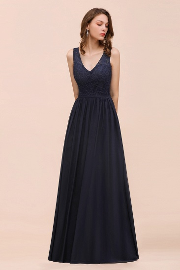 Affordable Lace V-Neck Navy Bridesmaid Dress with Open Back_4