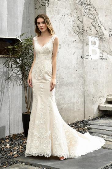 BMbridal Glamorous Mermaid Satin Lace Open Back Wedding Dress_7