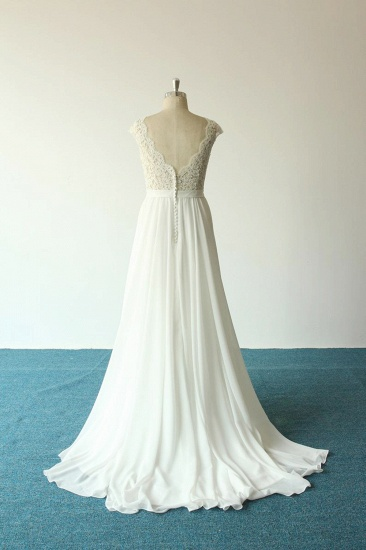 Elegant A-line White Chiffon Wedding Dress Sleeveless Appliques Bridal Gowns On Sale_3