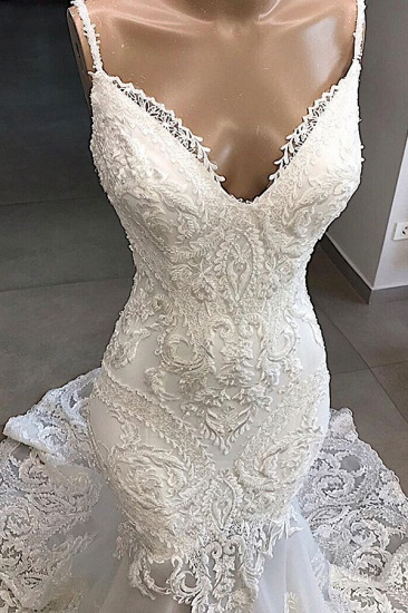 Glamorous Spaghetti Straps Ivory Mermaid Wedding Dresses With Appliques Sleeveless Lace Bridal Gowns On Sale_4