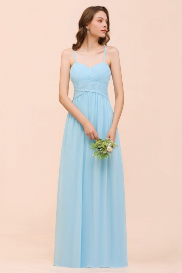 Chic Spaghetti Straps Ruffle Sky Blue Chiffon Bridesmaid Dress Online_6