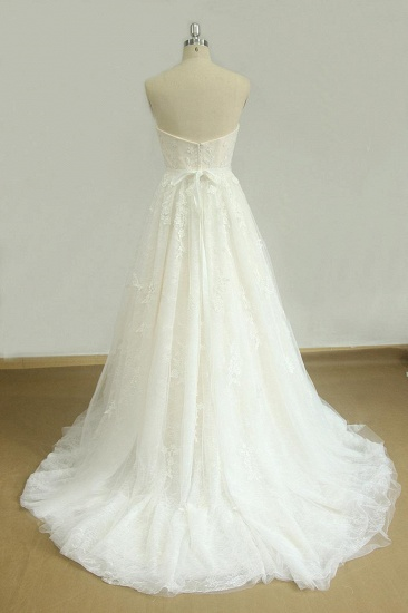 Elegant Strapless Lace Tulle Wedding Dress Appliques White A-line Bridal Gowns On Sale_3