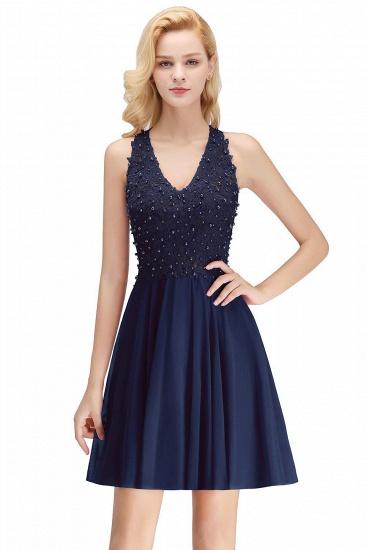 BMbridal A-line V-neck Sleeveless Short Appliques Chiffon Homecoming Dress_3