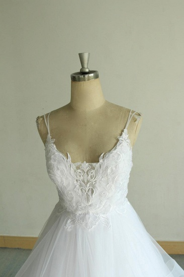 Sexy Spaghetti Straps Tulle White Wedding Dress Sleeveless A-line Bridal Gowns On Sale_5