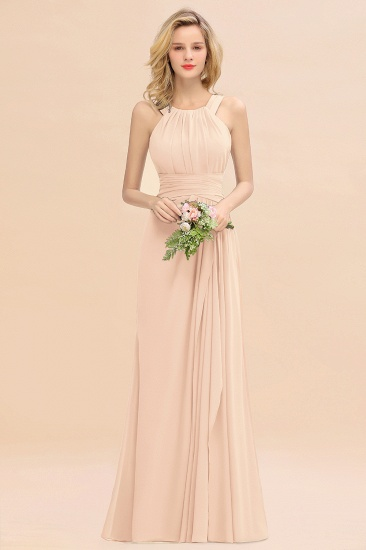 Elegant Round Neck Sleeveless Stormy Bridesmaid Dress with Ruffles_5