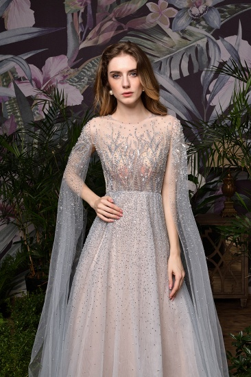 Luxurious Tulle Crystals Long Prom Dress Online With Ruffle Sleeves_22