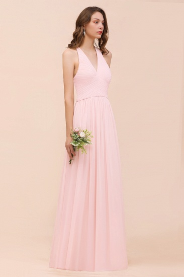 Chic V-Neck Blushing Pink Chiffon Affordable Bridesmaid Dress with Ruffle_5