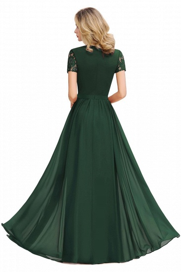 BMbridal Chic A-line Chiffon Lace Bridesmaid Dress with Short Sleeves_9