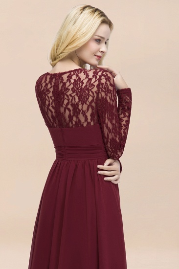 BMbridal Elegant Lace Burgundy Bridesmaid Dresses Online with Long Sleeves_58