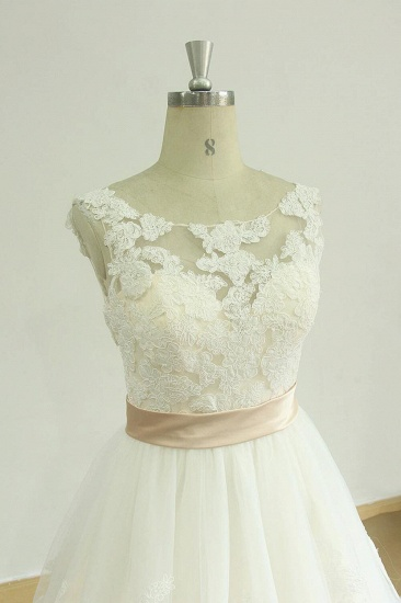 BMbridal Chic Jewel Lace Appliques Wedding Dress Sleeveless Tulle A-line Bridal Gowns On Sale_4