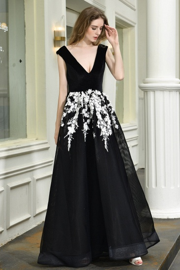 BMbridal Sexy Black Long Prom Dress V-Neck Evening Gowns With Lace Appliques_5