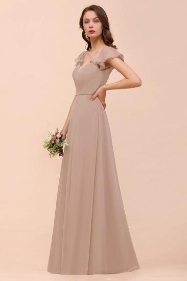 Elegant Chiffon Slit Affordable Bridesmaid Dresses with  Short Sleeves_4
