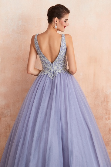 Gorgeous Lavender Lace Prom Dress V-Neck Ball Gown Tulle Formal Wears_9