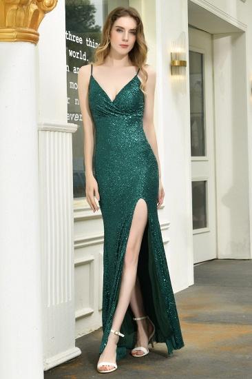 Sparkly Black Sequins Spaghetti Straps V-Neck Affordable Prom Dress_2