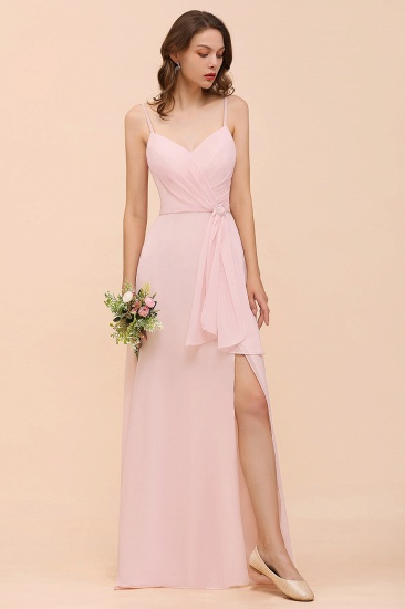 BMbridal Affordable Blushing Pink Spaghetti Straps Ruffle Bridesmaid Dress_6