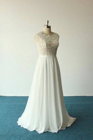 Elegant A-line White Chiffon Wedding Dress Sleeveless Appliques Bridal Gowns On Sale_5