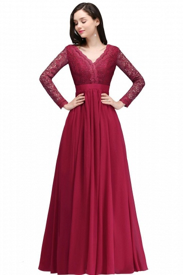 BMbridal Elegant A-line Chiffon Lace Long Sleeves Evening Dress