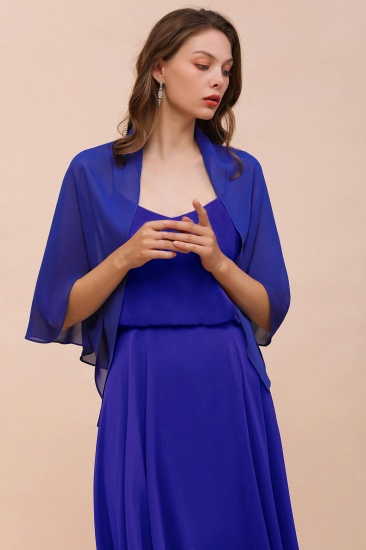 Royal Blue Chiffon Special Occasions Wraps_8