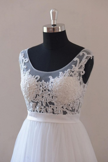 BMbridal Gorgeous Jewel Appliques Sleeveless Wedding Dress Tulle Ruffles White Bridal Gowns On Sale_4