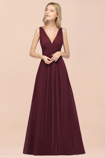 Elegant V-Neck Burgundy Chiffon Cheap Bridesmaid Dress with Ruffle_55