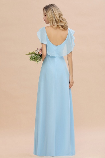 Modest Hi-Lo V-Neck Ruffle Long Bridesmaid Dress with Slit_52