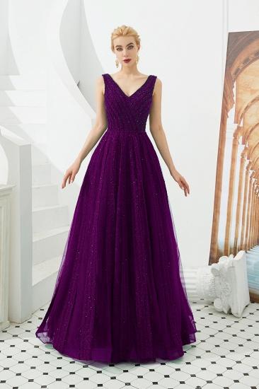 Glamorous Green V-Neck Sleeveless Prom Dress Long With Beadings Online_2