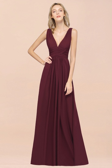 Elegant V-Neck Burgundy Chiffon Cheap Bridesmaid Dress with Ruffle_53