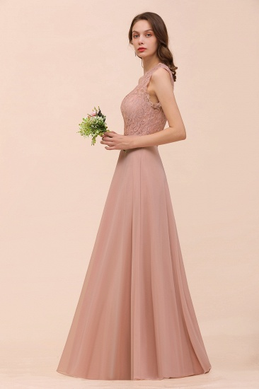 BMbridal New Arrival Dusty Rose One Shoulder Lace Long Bridesmaid Dress_57