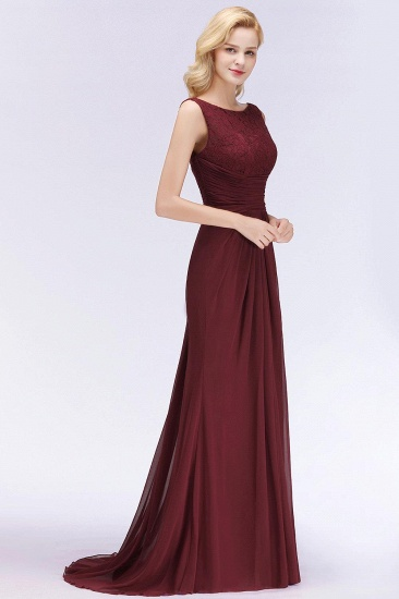 BMbridal Mermaid Burgundy Chiffon Ruffles Evening Dress_5