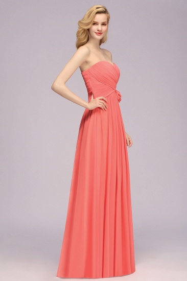 Affordable Sweetheart Strapless Chiffon Bridesmaid Dress with Flower_5