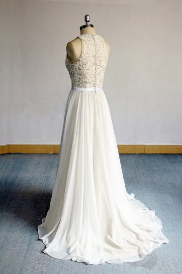 BMbridal Glamorous White Appliques Chiffon Wedding Dress Sleeveless Ruffles A-line Bridal Gowns On Sale_3