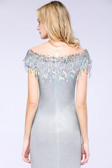 BMbridal Elegant Jewel Short Sleeves Sequins Evening Dress with Tassels_7