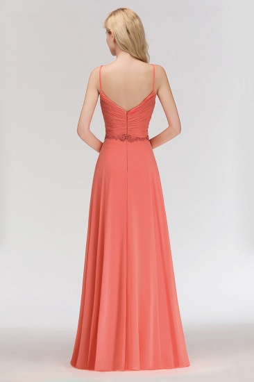 BMbridal Modest Spaghetti-Straps Ruffle Affordable Bridesmaid Dress with Appliques_3