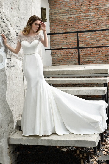 BMbridal Mermaid Satin Lace Off the Shoulder Affordable Ivory Wedding Dress_5