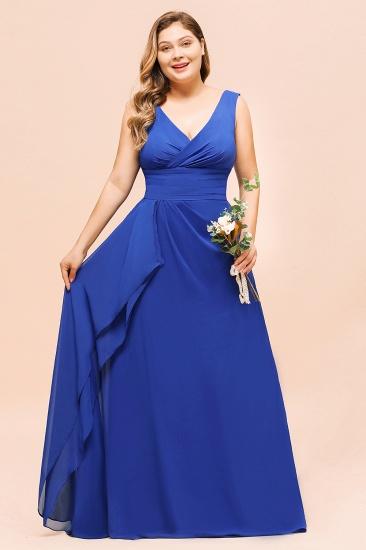 Elegant V-Neck Sleeveless Chiffon Plus Size Bridesmaid Dress_6