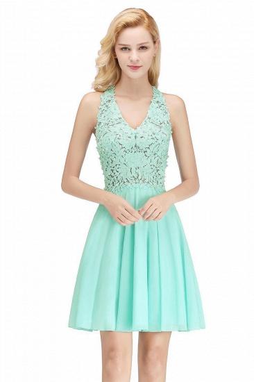 BMbridal A-line V-neck Sleeveless Short Appliques Chiffon Homecoming Dress_4