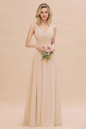 Elegant V-Neck Dusty Rose Chiffon Bridesmaid Dress with Ruffle_14