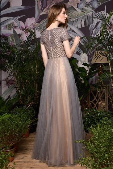 BMbridal Glamorous Short Sleeve Tulle Prom Dress Long Evening Party Gowns Online_3