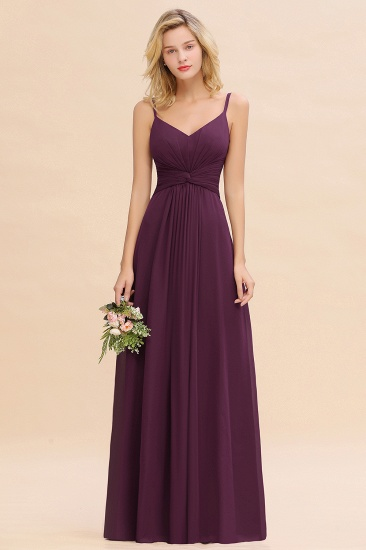 Modest Ruffle Spaghetti Straps Backless Burgundy Bridesmaid Dresses Cheap_20