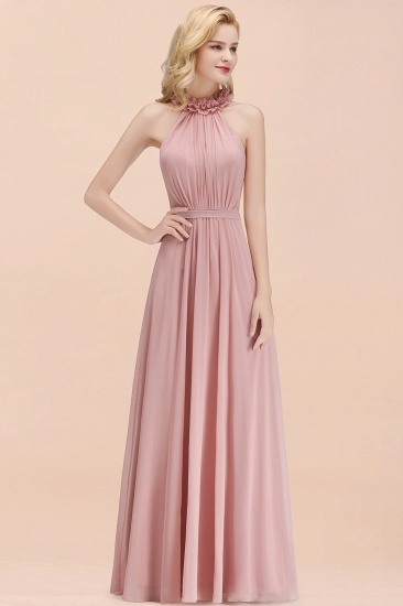 Modest High-Neck Halter Ruffle Chiffon Bridesmaid Dresses Affordable_54