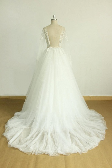 BMbridal Chic Jewel Longsleeves Tulle Wedding Dress Appliques Lace A-line Bridal Gowns On Sale_4