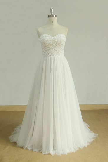 BMbridal Chic Sweetheart Lace Wedding Dress White Tulle Ruffles Bridal Gowns On Sale_1