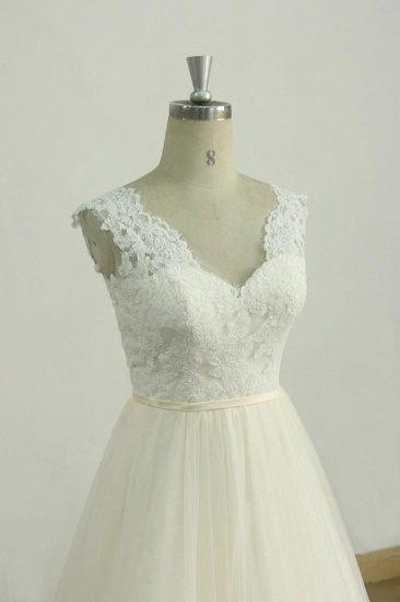 BMbridal Elegant Lace Straps V-neck Appliques Wedding Dress Tulle Ruffles A-line Bridal Gowns On Sale_4