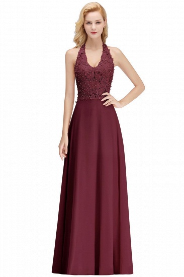 BMbridal A-line Halter Chiffon Lace Bridesmaid Dress with Beadings_3